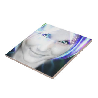 Futuristic Glowing Hair Woman Small Square Tile