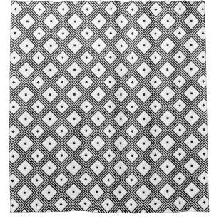 Futuristic Grid Line Pattern Shower Curtain