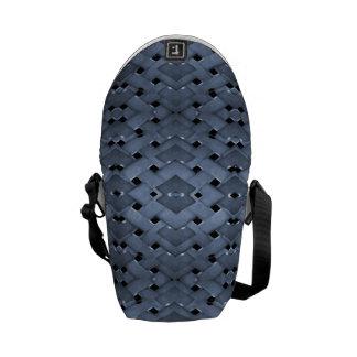 Futuristic Grid Pattern Design Print in Blue Tones Courier Bag