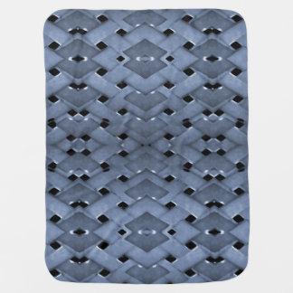 Futuristic Grid Pattern Design Print in Blue Tones Receiving Blanket