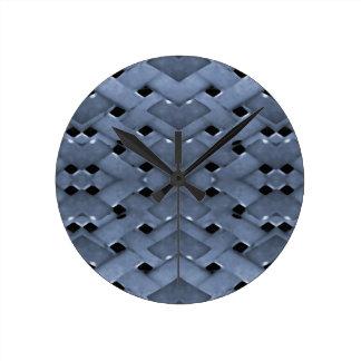 Futuristic Grid Pattern Design Print in Blue Tones Round Clock