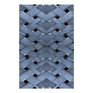 Futuristic Grid Pattern Design Print in Blue Tones Stationery