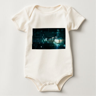 Futuristic Interface with Android Robot User Baby Bodysuit