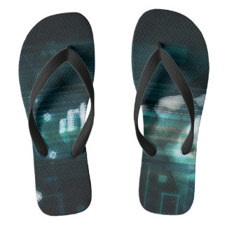 Futuristic Interface with Android Robot User Flip Flops