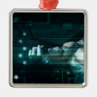 Futuristic Interface with Android Robot User Metal Ornament