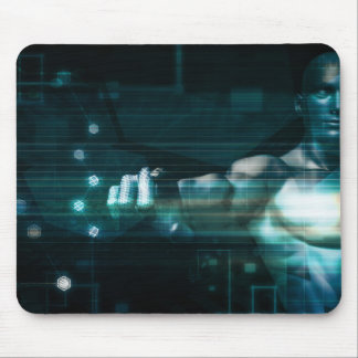 Futuristic Interface with Android Robot User Mouse Pad