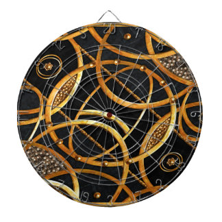 Futuristic Ornament Decorative Print Dartboard With Darts