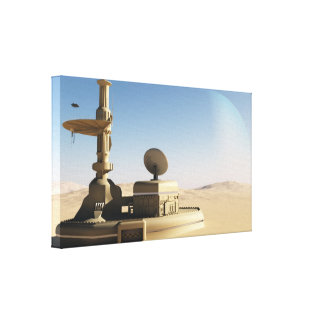Futuristic Sci-Fi desert outpost building Canvas Print