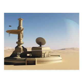 Futuristic Sci-Fi desert outpost building Postcard