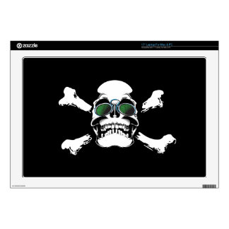 "FUTURISTIC SKULL AND BONES LOGO GRAPHICS SCARY GAN DECALS FOR 17"" LAPTOPS"