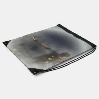 Futuristic Soldier - Faded Version Drawstring Bags