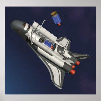 Futuristic Space Shuttle & Satellite Poster