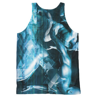 Futuristic Technology Background and Visual Data All-Over Print Tank Top