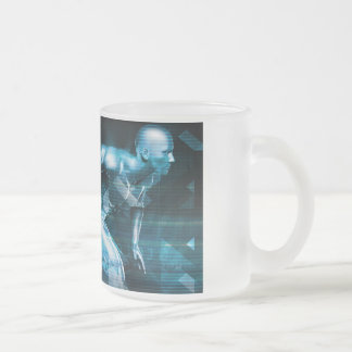 Futuristic Technology Background and Visual Data Frosted Glass Coffee Mug