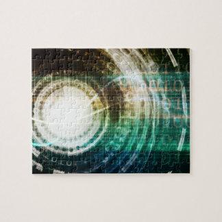 Futuristic Technology Portal with Digital Jigsaw Puzzle