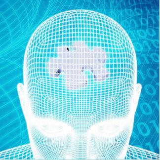 Futuristic Technology with Human Brain Chip Statuette