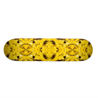 Futuristic Yellow Kaleidoscope Skateboard Deck