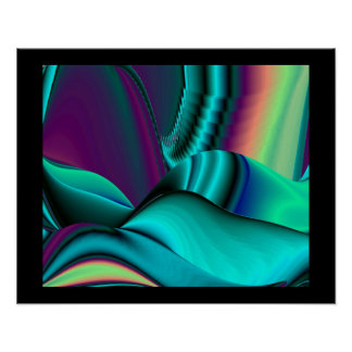futuristically, abstractly rainbow on black poster