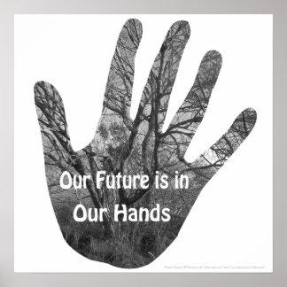 Futuro en su poster de las manos