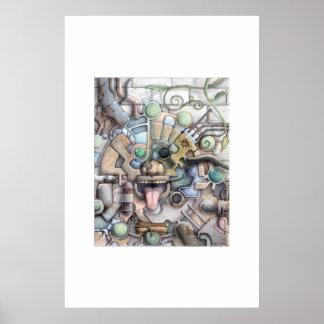 Futuro maya (lápiz coloreado) póster