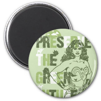 Futuro verde de la Mujer Maravilla Imán Redondo 5 Cm