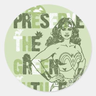 Futuro verde de la Mujer Maravilla Pegatina Redonda