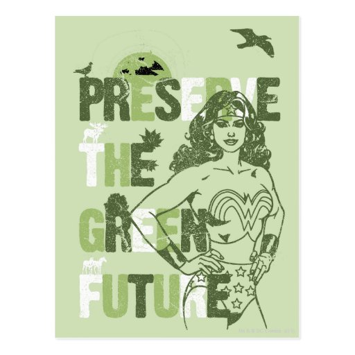 Futuro verde de la Mujer Maravilla Postal