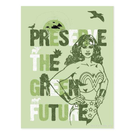 Futuro verde de la Mujer Maravilla Tarjetas Postales