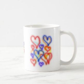 Fuzy heart outlines, red yellow blue colours classic white coffee mug