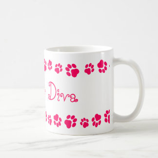 """Fuzzless Diva"" Mug, Matches ""Fuzzy Diva"" Cat Dish Coffee Mug"