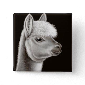 Fuzzy Alpaca Face Pin button