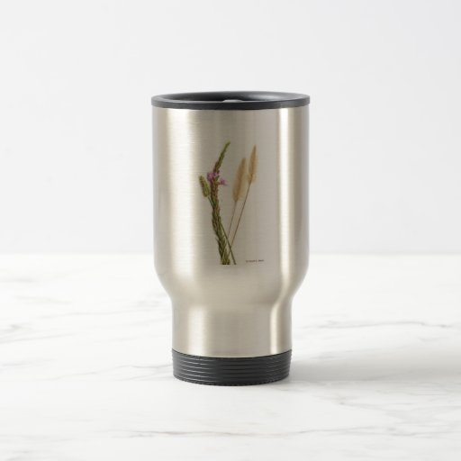 Fuzzy and purple flowers with green stems 15 oz stainless steel travel mug