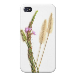 Fuzzy and purple flowers with green stems covers for iPhone 4