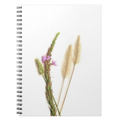 Fuzzy and purple flowers with green stems spiral notebook