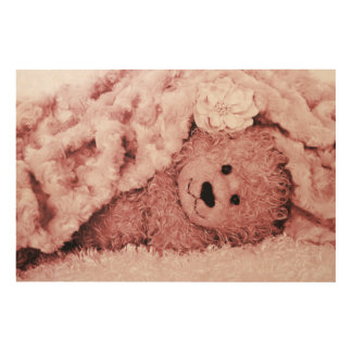 FUZZY BEAR UNDER A FUZZY BLANKET-SEPIA WOOD WALL ART