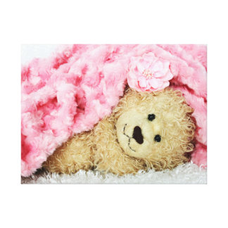 FUZZY BEAR UNDER A PINK FUZZY BLANKET CANVAS PRINT