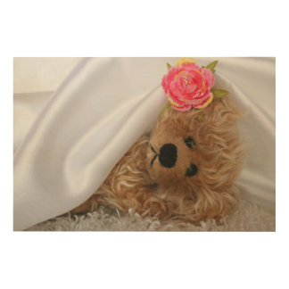FUZZY BEAR UNDER A SATIN BLANKET-SEPIA WOOD WALL ART