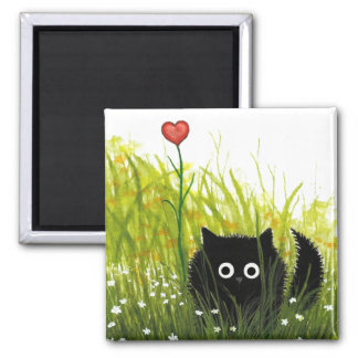 Fuzzy Black Cat One Love Bihrle Magnet