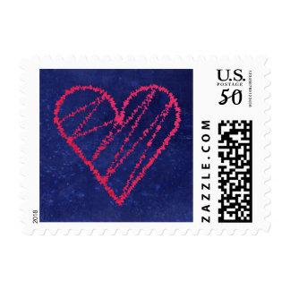 Fuzzy Blue Love Heart Stamp