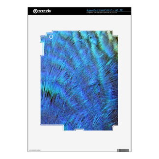 Fuzzy Blue Peacock Feathers Decal For iPad 3