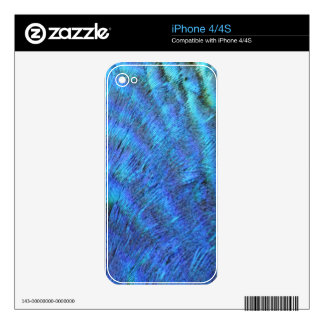 Fuzzy Blue Peacock Feathers iPhone 4S Skin