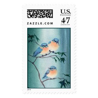 FUZZY BLUEBIRDS by SHARON SHARPE Stamp