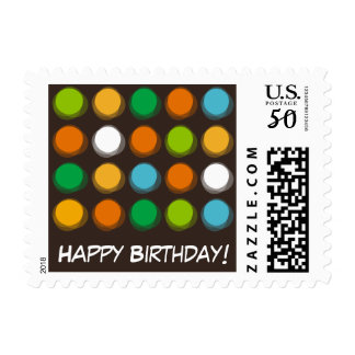 Fuzzy Blur Color Dots Fun Birthday Party Stamps