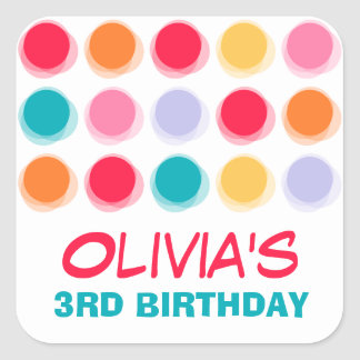 Fuzzy Blur Fun Color Dots Birthday Party Stickers