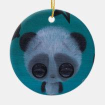 panda, sugar, fueled, sugarfueled, coallus, michael, banks, teal, fuzzy, bigeye, Ornament with custom graphic design