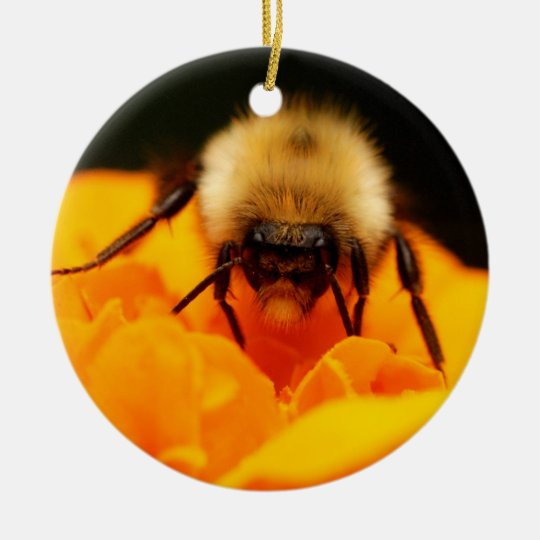 Fuzzy Bumble Bee Ceramic Ornament