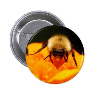 Fuzzy Bumble Bee Pinback Button