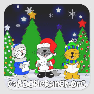 'Fuzzy Carolers' Square Stickers