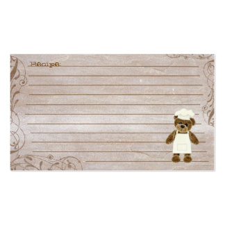 Fuzzy chef bear rustic swirl recipe cards Double-Sided standard business cards (Pack of 100)