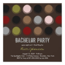 Fuzzy Color Disco Dots Bachelor Party Invitation